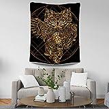 MENGMENGDA Mengengda - Mantel de Tela para Colgar en la Pared, diseño de búho Dorado en 3D, Color Negro, poliéster, 150 * 100cm