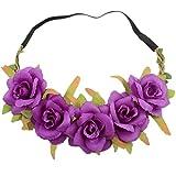 1X Toruiwa Braut Haarband Stirnband Haarkranz Blumenkrone Garland mit Mini Blumen für Hochzeit Parteien (Lila)