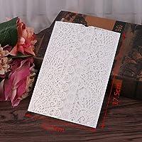 Dabixx boda Tarjetas de invitación Kit 10Unidades con sobres Juntas de arroz impresión de flores blancas e 18x 12.4cm