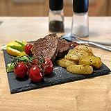 PlenTree Assiette plate en ardoise naturelle solide carrée pour sushis, barbecue à...