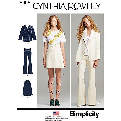 Simplicity 8058p5Schnittmuster Anzug Trennt Cynthia Rowley Kollektion Schnittmuster, Papier