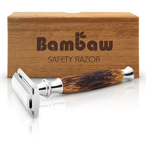 Double Edge Safety Razor with Long Natural Bamboo Handle | The Perfect Shave | High Quality | Sustainable and Durable | Environmentally Friendly |Fits All Double Edge Razor Blades | Bambaw