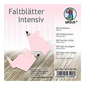 Ursus 3146829 - Hojas Plegables (100 Unidades, 65 g/m², 10 x 10 cm, para Artistas de Origami Grandes y pequeños, teñidas), Color Rosa