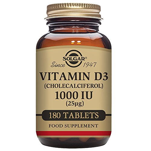 Solgar Vitamin D3 (Cholecalciferol) 1000 IU (25 µg) Tablets – Pack of 180