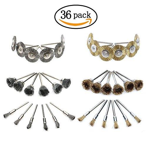 Preisvergleich Produktbild HYCC 36Pcs Messing Stahldraht Polierräder Buffing Pinsel Full Kit für Dremel Rotary Tools (Pen Typ + Flat Type + Bowl Typ)