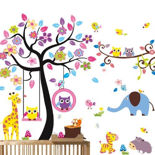 mercurymallr-neuf-3-en-1-stickers-muraux-grand-arbre-avec-hibous-et-elephantamis-des-animaux-pour-sa