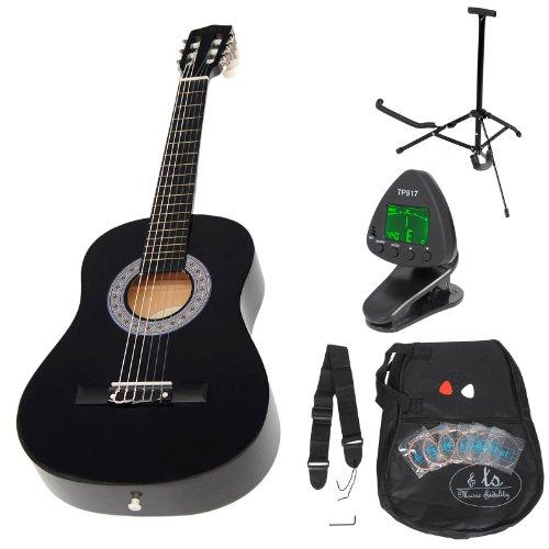 ts-ideen Kindergitarre 1/2 Akustik Klassik Gitarre Schwarz ca. 6-9 Jahre + Zubehörset