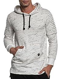 BLZ jeans - Sweat blanc chiné homme oversize à capuche