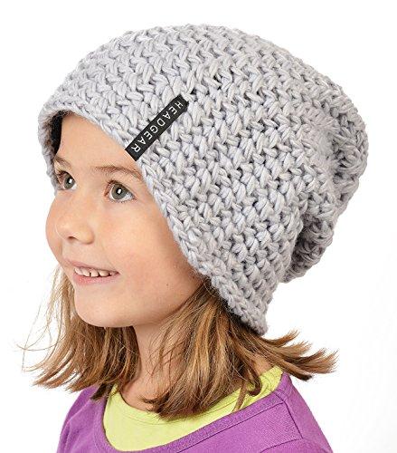 Stylische Oversize Häckelmütze für Mädchen : Mädchen Oversize Häkel Beanie Farbe: grau