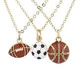 LUX Zubeh?r goldfarbenes Fu?ball Fu?ball Basketball Charm Ketten 3