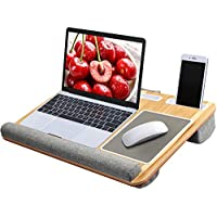 "HUANUO Laptop Tray with Cushion, Built in Mouse Pad & Wrist Pad for Notebook, MacBook up to 17"" with Tablet, Pen & Phone Holder"