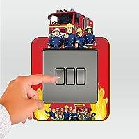 Fireman Sam Light Switch Surround Sticker Skin Theme Graphic Decal Bedroom Kids
