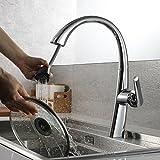 ubeegol 360° drehbar Wasserhahn Küche Armatur Ausziehbar Küchenarmatur mit Brause 2 Wassermodi Spültischarmatur Mischbatterie Spülbecken Spültischbatterie Chrom