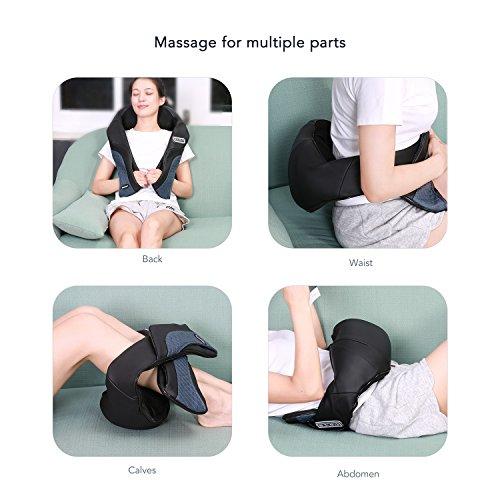 MaxKare Appareil de Massage Sans Fil Shiatsu Masseur Portable pour Dos, Cou, Nuque et Épaules 3D Rotation Bidirectionnelle avec Fonction de ... 11