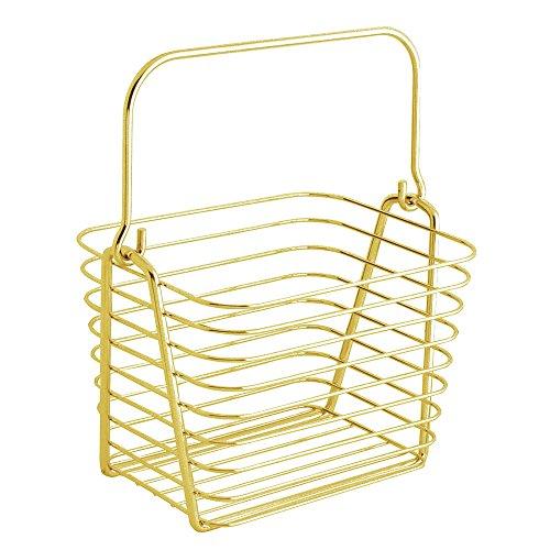 iDesign Classico Aufbewahrungskorb, kleiner Drahtkorb aus Metall mit Henkel für Badzubehör oder Spielzeug, goldfarben