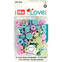 Prym 393030 Herzform Color snaps Prym Love Druckknopf Color KST 12,4mm Pink/Grün/Hellblau