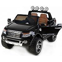 RIRICAR Ford Ranger Wildtrak Luxury Elektrisches Auto für Kinder, 2.4Ghz Fernbedienung, 2 MOTOREN, Zweisitzer in Leder, Weiche Eva Räder, Schwarz Lackierung, MP3 USB SD, Original-Ford-Lizenz