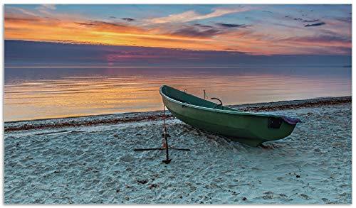 Wallario Herdabdeckplatte/Spritzschutz aus Glas, 1-teilig, 90x52cm, für Ceran- und Induktionsherde, Einsames Fischerboot mit Anker am Strand