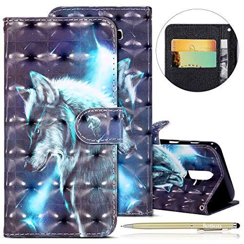 Kompatibel mit Galaxy J8 2018 Lederhülle Glitzer 3D Glänzend Hülle Ultradünn Leder Tasche Klappbar Schutzhülle Flip Case Cover Handytaschen mit Kartenfach,Wolf