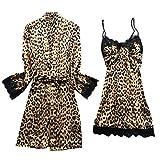 ZEELIY Frauen Sexy Satin Leopard Sling Nachtwäsche Dessous Spitze Nachtwäsche Unterwäsche Set