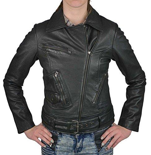 Wrangler Damen Lederjacke schwarz, Größe:L