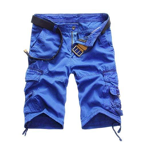Shorts Herren Reißverschlusstaschen Pure Farbe Draußen Strand Beiläufig Arbeit Cargo Hose (34, 03 Blaues)