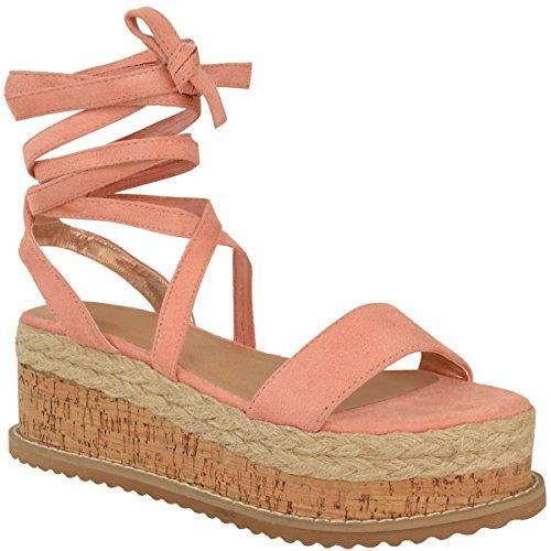 Femmes Paltes Liège Sandales Espadrille Semelle Compense Cheville Chaussures À Lacets Taille Rose Blush Faux Daim