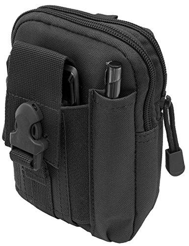 Schwarze Leder-gürtel-tasche (OUTDOOR SAXX® - Taktische Gürtel-Tasche Hüft-Tasche | Schutz Transport Case für Ausrüstung Handy GPS Tracker MP3 Player Messer | schwarz)