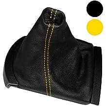 AERZETIX: Funda para palanca de cambios 100 % Piel Genuina negro Costuras de color amarillo