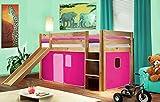SixBros. Hochbett Kinderbett Spielbett mit Rutsche Massiv Kiefer Natur/Lackiert - Pink - SHB/17/1033