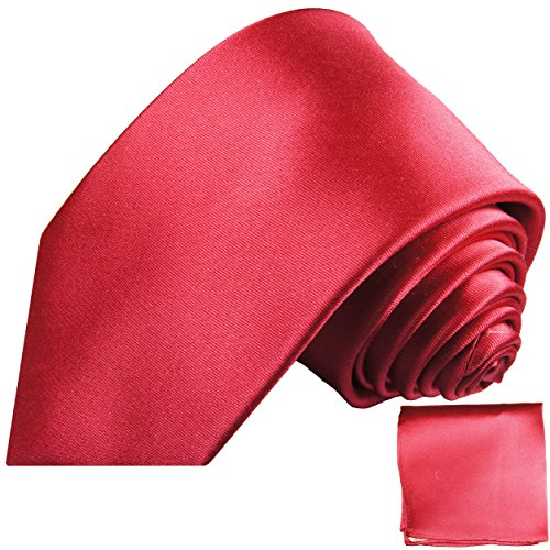 Krawatten Set 2tlg 100% Seide dunkel pink uni Seidenkrawatten mit Einstecktuch