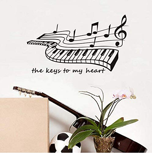 Die Tasten zu meinem Herzen Klavier Wandaufkleber Musik Wohnkultur Wohnzimmer Vinyl Wandtattoos abnehmbare populäre Kunst-Tapete 100x58cm