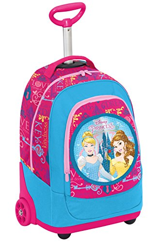 BIG TROLLEY DISNEY PRINCESS LOYAL HEARTS - 2in1 - Zaino con spallacci a scomparsa - Rosa Azzurro 31Lt