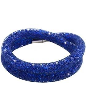 Stardust Armband Kristallzirkonium Brilliant Strass double wiederum Magnetverschluss blau