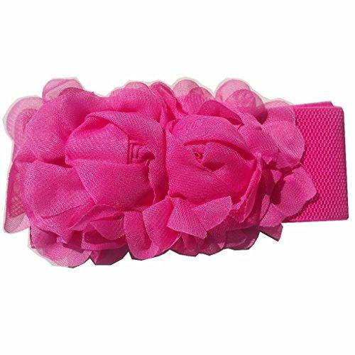 Breiter Damen Gürtel 2 Blumen Blume Taillengürtel Stoff Taille Hochzeit Kleid (Pink (G51))