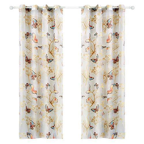 Top finel voile tende cameretta bambini tenda con occhielli farfalla stampa pura parete porta finestra balcone,300 x 250 cm, 1 pezzo