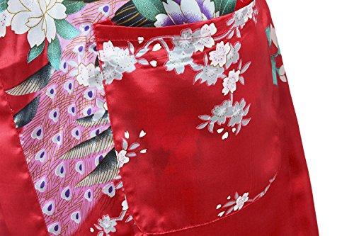 HonourSport-Kimono Japonais en Satin faux Sexy Robe de Chambre-Femme Rouge