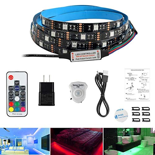 AveyLum LED Streifen Bewegungs Aktiviertes Bettlicht 1,5 Meter RGB LED Seillicht Bewegungssensor Nachtlicht Nachttischlampe mit automatischer Abschaltzeit und RF Regler für Bett, Treppe, Schrank -