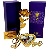 Msa Jewels 24K Gold Rose With Love Photo Frame,Gift Box And Carry Bag