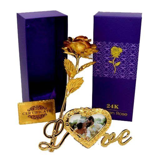 Lavanaya Silver 24K Certified Gold Plated Red Rose With Purple Gift Box & Beautiful Golden Love Photo Frame Flower Stand For Loved Ones