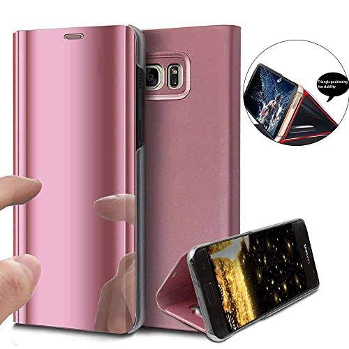 Yuhootech samsung galaxy s6 edge plus flip a specchio portafoglio pc custodia e pc interiore plastica cover con funzione kickstand ultra-sottile specchio traslucido smart cover-rose
