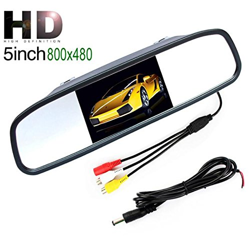 Coche Espejo Monitor–5pulgadas HD 800* 480resolución Digital TFT LCD Espejo monitor con 2entrada de vídeo de visión trasera de aparcamiento para coche conexión trasera/parte delantera cámara