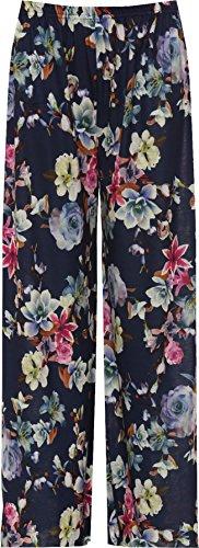WearAll - Übergröße Damen Blumen Druck Weite Bein Palazzo Hosen - Lila Blume - 40-42 (Blumen-print-hose)