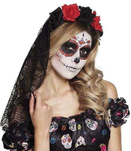 TH-MP Gruselbraut Schleier schwarz Horrorbraut Halloweenschleier Brautschleier mit Rosen und Spitze Zombiebraut Halloweenzubehör Day of The Dead Accessoires