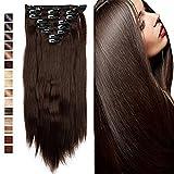 S-noilite - 8 Extensions 58 cm cheveux lisses et souples à clipser - extensions cheveux clips naturel-brun moyen