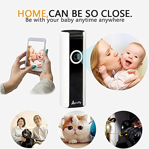 IP Camera , Accfly 720P HD WiFi Wireless Security System Home Surveillance Video Recording Cam Two Way Audio Night Vision 185 Degree Wide Angle Motion Detection