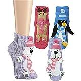 1 Paar Damen Homesocks Wintertiere Pinguin Elch Hunde mit Laufsohle mollig warm