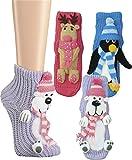 Damen Homesocks Wintertiere Pinguin Elch Hunde mit Laufsohle mollig warm Farbe Eisbär Größe 25/29