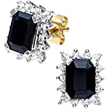 Naava Women's Diamond and Sapphire 9 ct Yellow Gold Earrings