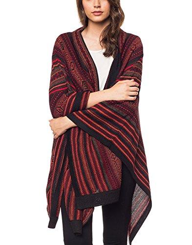 100% Wolle (Invisible World Damen Alpaka Poncho - Ruana Cape aus 100% Alpaka Wolle für Herbst und Winter - Montreal Rot)